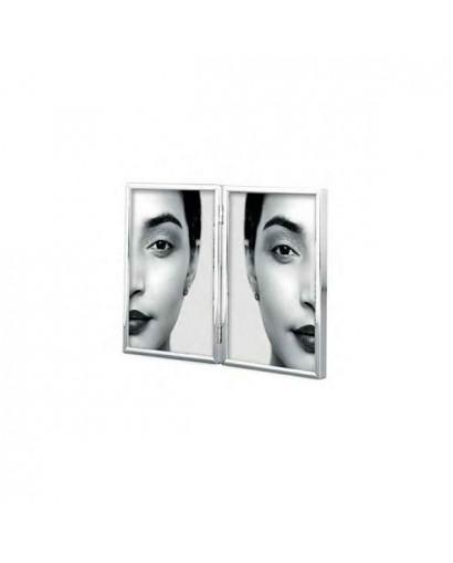 Mascagni Portafoto doppio in metallo lucido argento 10 x 15